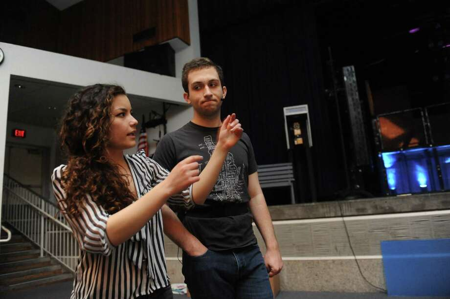 Maya Edward and Hale McSharry, both 17, actors, speaks about the MISA vote during a rehearsal for Rent in Greenwich High School, in Greenwich, Tuesday, May 14, 2013. Photo: Helen Neafsey / Greenwich Time