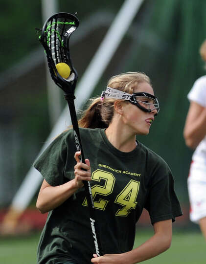 Izzy Viola (# 24) of Greenwich Academy during the girls high school lacrosse match between Greenwich