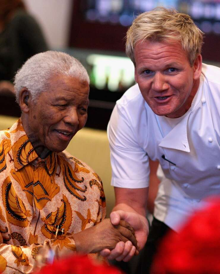 "Gordon Ramsay meets Nelson Mandela during a lunch to Benefit the Mandela Children's Foundation as part of the celebrations of the opening of the new One&Only Cape Town resort on April 3, 2009. Ramsay will visit The Curtis House in Woodbury from May 11-14 to film for the latest season of ""Hotel Hell."""