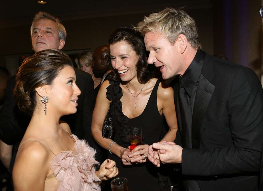 "Gordon Ramsay with wife Tana Ramsay and Eva Longoria Parker attend the PEOPLE-TIME-FORTUNE-CNN White House Correspondents dinner cocktail party at Hilton Hotel in Washington on May 9, 2009. Ramsay will visit The Curtis House in Woodbury from May 11-14 to film for the latest season of ""Hotel Hell."""