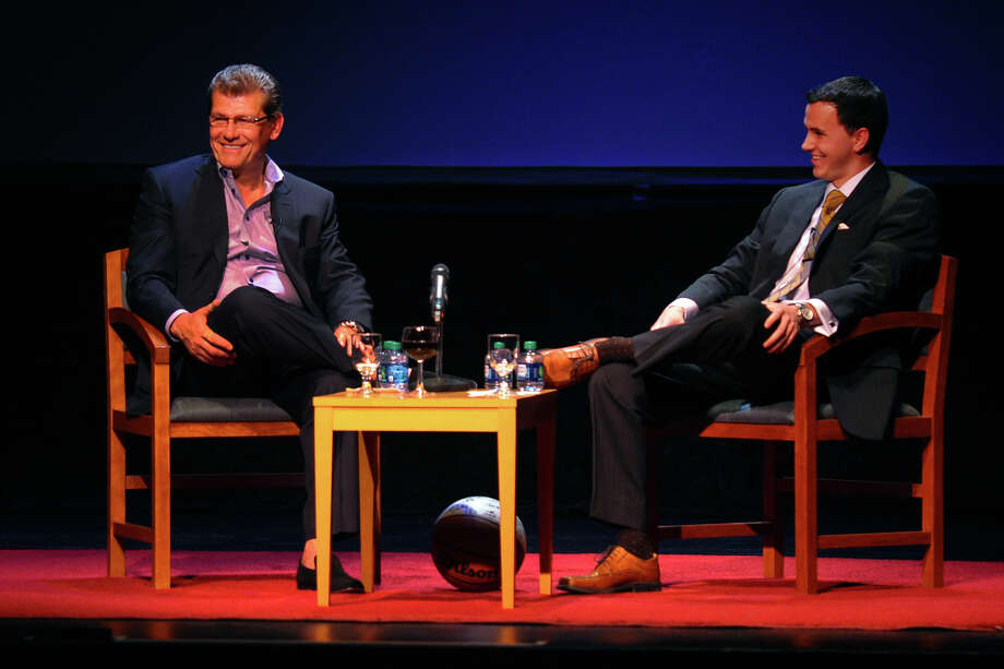 UConn women's baseketball coach Geno Auriemma, left, speaks at Sacred Heart University's Edgerton Center in Fairfield, Conn. on Tuesday May 14, 2013. At right is Paul O'Connor, Director of Basketball Operations at Central Connecticut State University. The event benefits the Cardinal Sheehan Center in Bridgeport. Photo: Christian Abraham / Connecticut Post