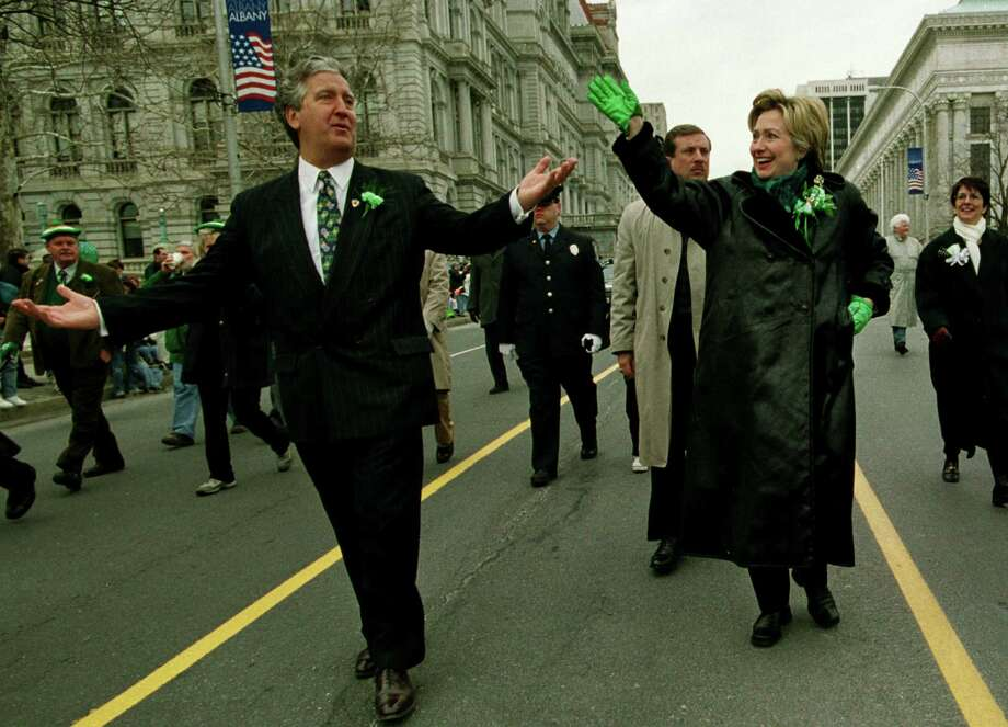 Times Union Staff Photo by Michael P. Farrell--Albany Mayor Gerald Jennings (left) and  United States Senator Hillary Clinton (right) lead the Albany  St. Patricks Day Parade down Washington Avenue  in  Albany , N.Y. March 17,  2001 Photo: MICHAEL P. FARRELL / ALBANY TIMES UNION