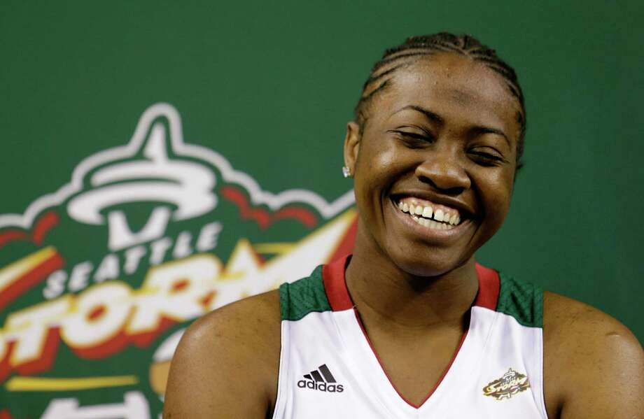 Seattle Storm's Shekinna Stricklen laughs during an interview, Tuesday, May 14, 2013, at the team's media day in Seattle. The Storm opens their WNBA basketball season Sunday, May 26, at Los Angeles. Photo: Elaine Thompson, AP / AP