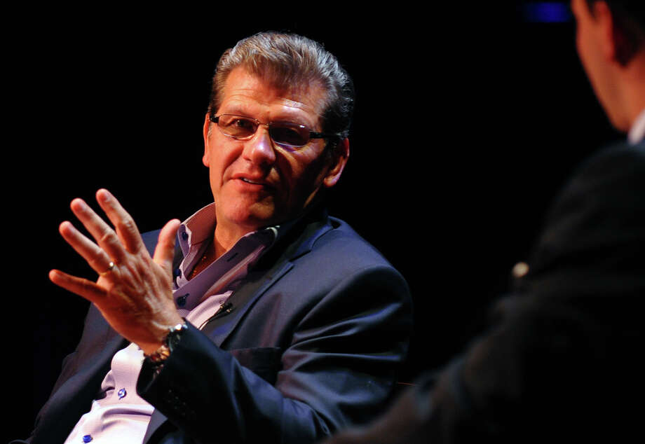 UConn women's baseketball coach Geno Auriemma speaks at Sacred Heart University's Edgerton Center in Fairfield, Conn. on Tuesday May 14, 2013. The event benefits the Cardinal Sheehan Center in Bridgeport. Photo: Christian Abraham / Connecticut Post