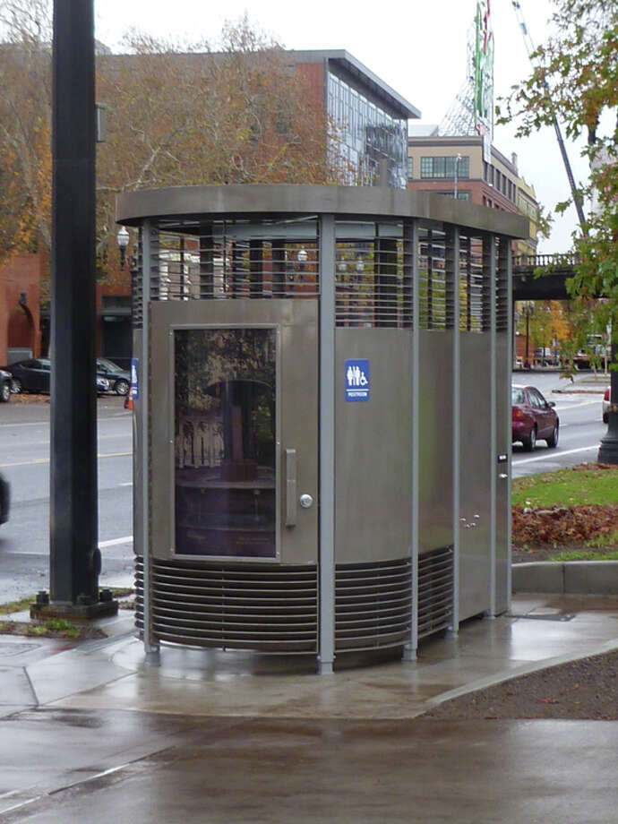 Here's the ''Portland Loo,'' a much simpler bathroom with peekaboo views at the bottom and top. Photo: City Of Portland