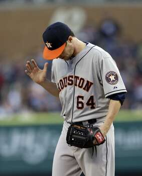 May 14: Tigers 6, Astros 2  Houston pitcher Lucas Harrell's strong outing ended when the Tigers pounced on him in the fifth frame.  Record: 10-30. Photo: Carlos Osorio, Associated Press