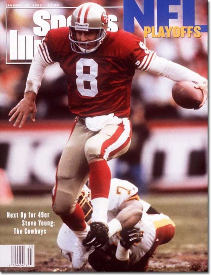 Greenwich native Steve Young's journeyman pro football career finally came to an end when he hit his first of seven SI covers on January 18, 1993. With Joe Montana out of the picture and Young at the controls as the NFL's MVP, the 49ers beat the Redskins in the NFC Divisional round and and were about to meet Troy Aikman and Emmitt Smith in the NFC championship game. The 49ers lost, 30-20. Photo: Peter Read Miller