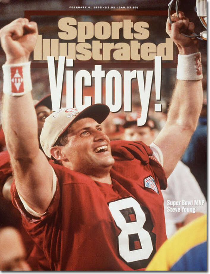 Finally! (Part 2): Steve Young gets the monkey off his back. The Greenwich native threw a record six touchdown passes as the 49ers defeated the San Diego Chargers 49-23 in Super Bowl XXIX, leading to this cover on Feb. 6, 2005.