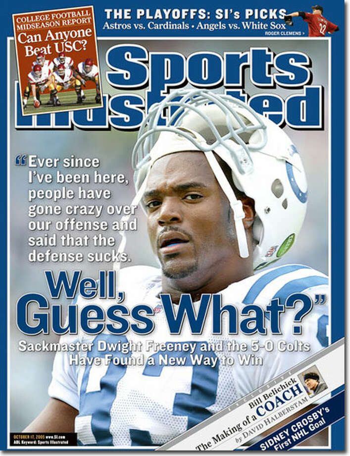 Bloomfield's Dwight Freeney was at the height of his career as a defensive end for Indianapolis in 2005 when he and the Colts were nearly half-way through a 13-game win streak to start the year. Freeney had 11 sacks and the Colts finished 14-2, but were upset by eventual Super Bowl champion Pittsburgh Steelers in the AFC Divisional Playoffs.