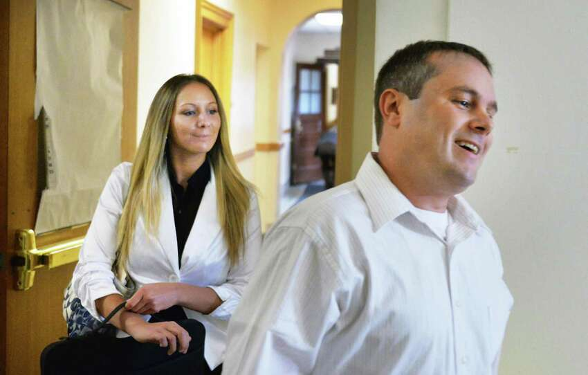 Sno Kone Joe owner Amanda Scott and Joshua Malatino in Fulton County Supreme Court in Johnstown, NY, Tuesday May 14, 2013. (John Carl D'Annibale / Times Union)