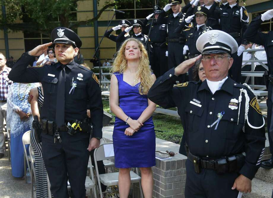Joanna Baczek, fiancee of fallen Police Officer Edrees Mukhtar, attends the annual tribute ceremony to fallen officers. Photo: Bob Owen, San Antonio Express-News