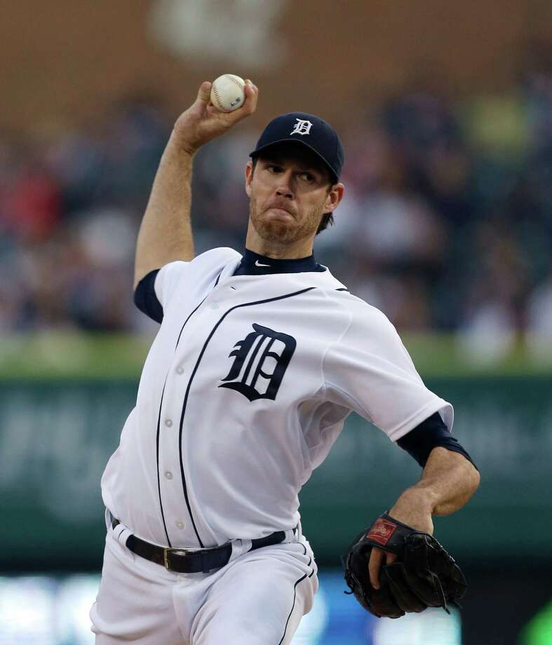 Detroit Tigers starting pitcher Doug Fister throws during the fifth inning of a baseball game against the Houston Astros in Detroit, Tuesday, May 14, 2013. Fister pitched seven innings in the Tigers' 6-2 win. (AP Photo/Carlos Osorio) Photo: Carlos Osorio