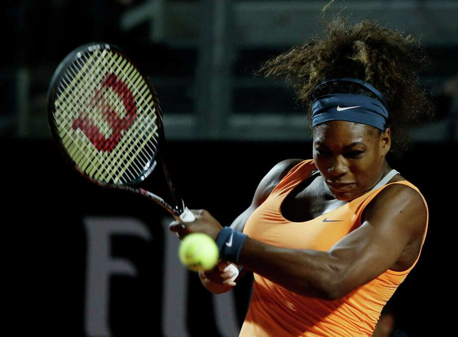 Serena Williams overpowered Laura Robson, who had beaten sister, Venus, a day earlier, in the second round of the Italian Open on Tuesday. Photo: Gregorio Borgia, STF / AP