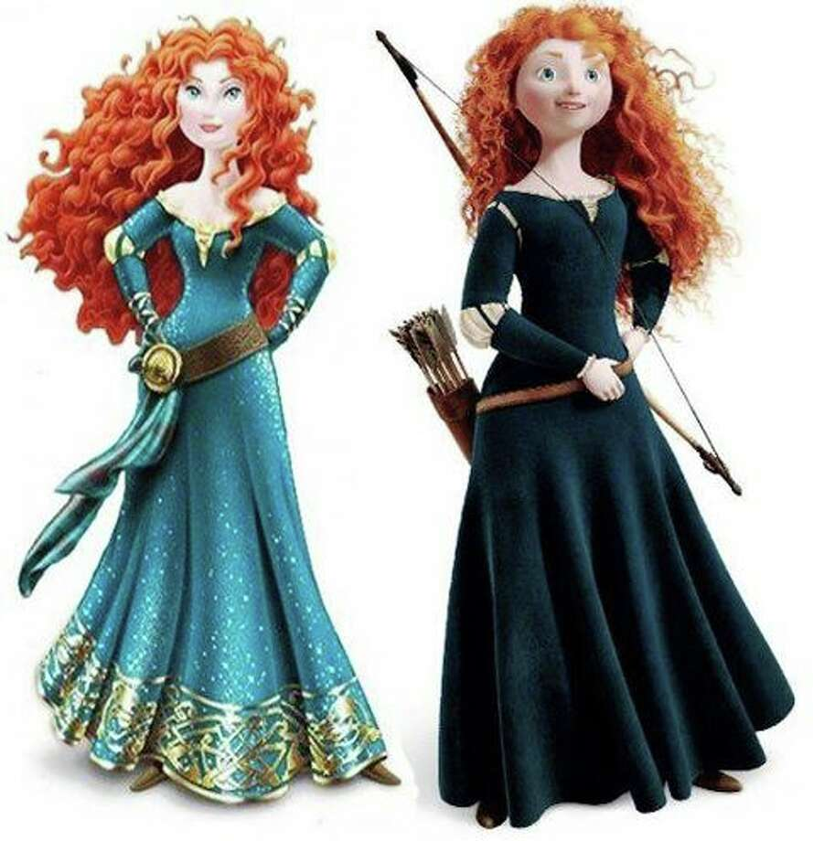 The new and original looks of Princess Merida are shown in this side-by-side image.