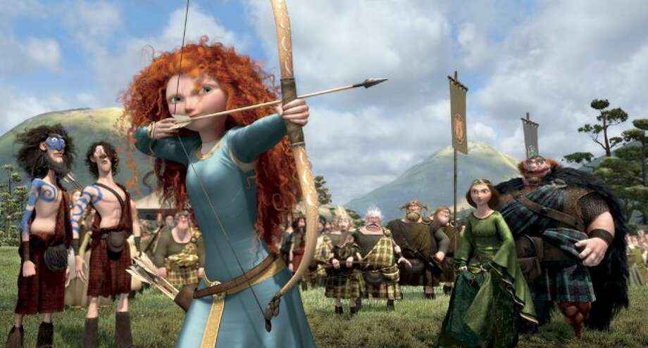 Princess Merida is shown in the fancy gown she hated in this image from 'Brave.'