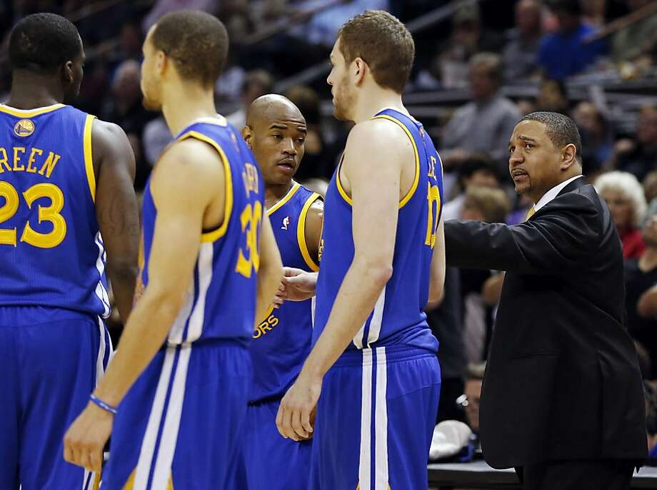 Golden State Warriors' head coach Mark Jackson talks with the team during second half action of Game 5 in the NBA Western Conference semifinals against the San Antonio Spurs Tuesday May 14, 2013 at the AT&T Center. The Spurs won 109-91. Photo: Edward A. Ornelas, San Antonio Express-News