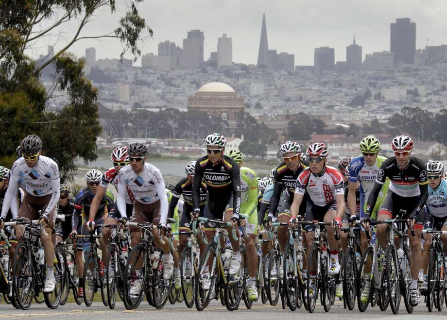 Cyclists made their way up from Crissy Field near the beginning of the race with the skyline of San Francisco in the background. Day two of the Amgen Tour of California began in San Francisco, then traveled down highway one and finished at Cabrillo College in Aptos, Calif. Monday May 14, 2012.