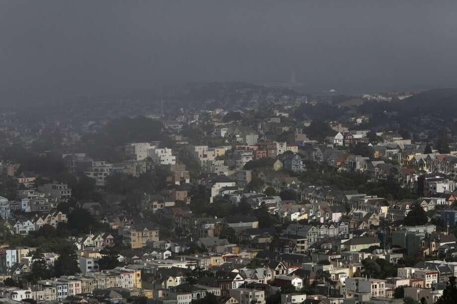 Fog is seen looking east from Mount Olympus towards the bay on May 10, 2013 in San Francisco, Calif.