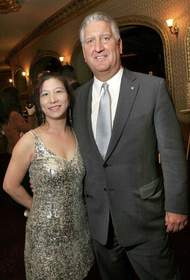 Albany, NY - November 17, 2006 - (Photo by Joe Putrock/Special to the Times Union) - Albany Mayor, Jerry Jennings(right), poses with artist, Leigh Wen(left) at Jazz on Stage ... Up Close and Personal, a Fundraiser for Albany Center Galleries at Albany's historic Palace Theater. Jennings left shortly after placing a bid on a piece that Wen had donated to the silent art auction. Photo: Joe Putrock, Joe Putrock/Special To The Times