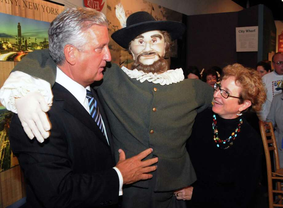 "Times Union Photo by James Goolsby-Sept. 10, 2008-Albany Mayor, Jerry Jenning and Carol Ann Margolis, Education Coordinator for the Albany Visitors Center. Share a lite moment with the""Henry Hudson"" puppet. As part of the press conference at the Albany Heritage Area Visitors Center, at Quackenbush Square. To announce the plans for the upcoming Quadricentennial Celebration and the event being names #1 in the 2009 Top !00 Events in North America by the American Bus Association. Photo: JAMES GOOLSBY JAMES GOOLSBY, TIMES UNION / 00000196A"