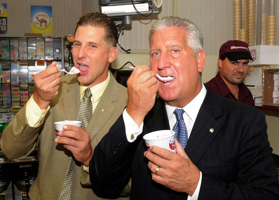 "Albany Common Council Member John Rosenzweig(l) and Mayor Jerry Jennings(r) try the new flavor of ice cream ""All American City"" named for the City of Albany's honor at Stewart's on New Scotland Avenue in Albany, New York September 1, 2009. Photo: Skip Dickstein, TIMES UNION / 2008"
