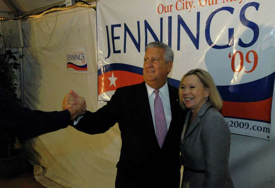 Albany Mayor Jerry Jennings with wife Mary Ann are greeted by a supporter after winning the democratic Primary for mayor at Martel's Restaurant in Albany, New York 9/15/2009. (Michael P. Farrell / Times Union ) Photo: MICHAEL P. FARRELL, ALBANY TIMES UNION / 00005509A