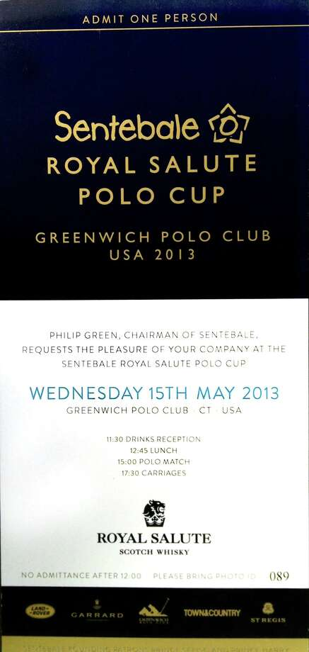 A coveted ticket for admittance to the Sentbale Royal Salute Polo Cup match at the Greenwich Polo Culb in Greenwich, Conn. on Wednesday May 15, 2013. Photo: John Breunig / Greenwich Time
