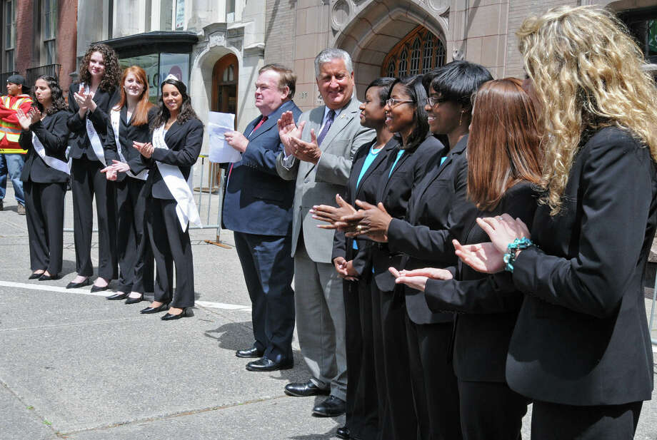 Albany Mayor Jerry Jennings introduces the past and present members of the Tulip Queen court at the 62nd Annual Albany Tulip Festival street scrubbing ceremony on State St. in Albany, NY on May 7, 2010. Photo: LORI VAN BUREN, Times Union / 00008571A