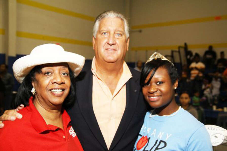 Submitted by Mike Barber    From left, Annette DeLavallade, publisher of Classique Magazine; Albany Mayor Jerry Jennings; and 2010 Albany Tulip Queen Mishka Gilkes celebrate at Albany's sixth annual Juneteenth Celebration. More than 1,000 people attended the June 12 event, which featured 25 tables representing community resources; a talent show and competition; a replica of the Emancipation Proclamation; and a display of what Juneteenth means to area residents. The event, held at the Arbor Hill Community Center, celebrates the anniversary of when the last slaves were freed in the United States.