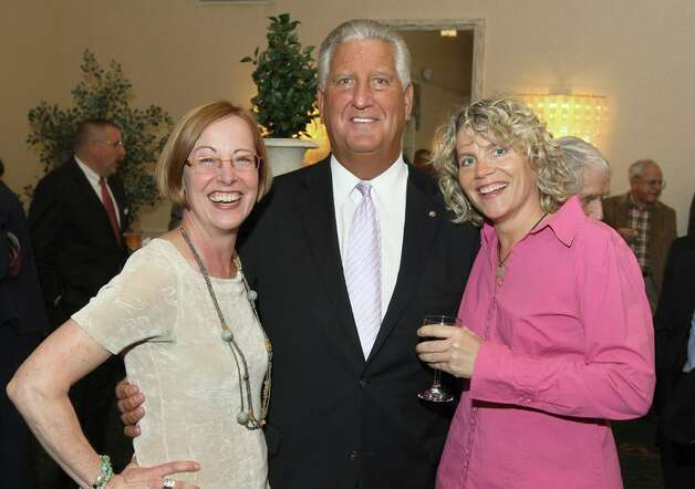 Cindy Schultz and Lori Van Buren with Jerry Jennings at Carol DeMare's retirement party.   Submitted by Lori Van BUren Photo: (Reader-submitted)
