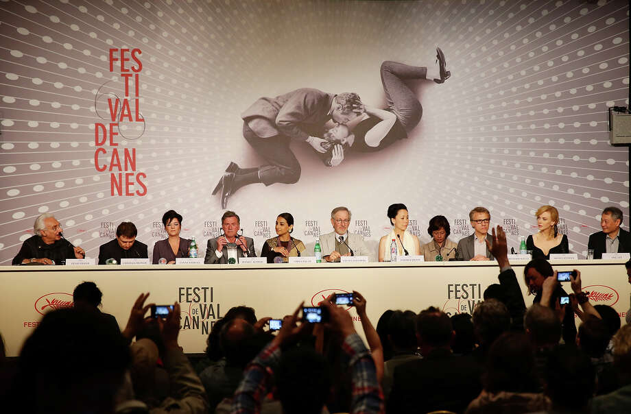 (L-R) Henri Behar, Cristian Mungiu, Lynne Ramsay, Daniel Auteuil, Vidya Balan, Steven Spielberg, Naomi Kawase, Christoph Waltz, Niciole Kidman and Ang Lee attend the Jury Press Conference during the 66th Annual Cannes Film Festival at the Palais des Festivals on May 15, 2013 in Cannes, France. Photo: Vittorio Zunino Celotto, Getty Images / 2013 Getty Images