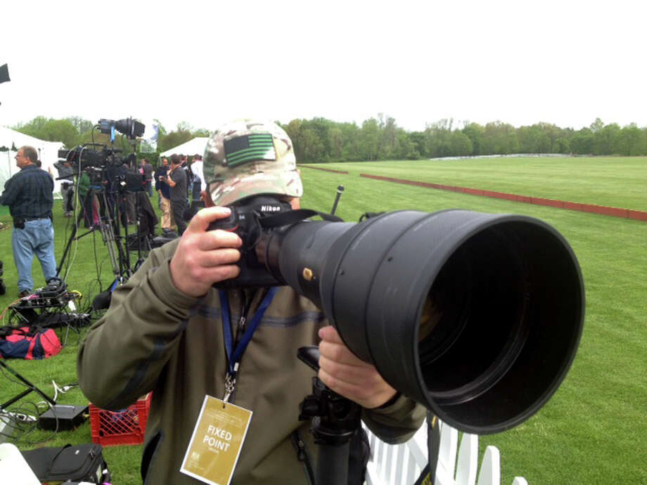 The media descend on the Greenwich Polo Club, Wednesday, May 15, 2013 where Prince Harry will play in a  polo match to raise funds for Sentebale, a charity Harry co-founded in 2006 in memory of his late mother, Princess Diana. Photo: Bob Luckey / Greenwich Time