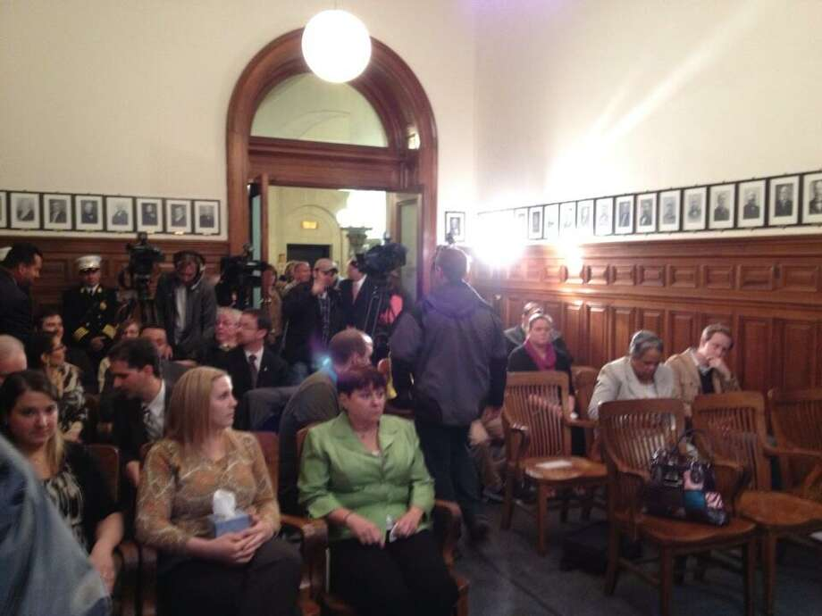The scene in the mayor's conference room as Albany Mayor Jerry Jennings prepares to discuss his decision not to run for re-election. (Jordan Carleo-Evangelist/Times Union)