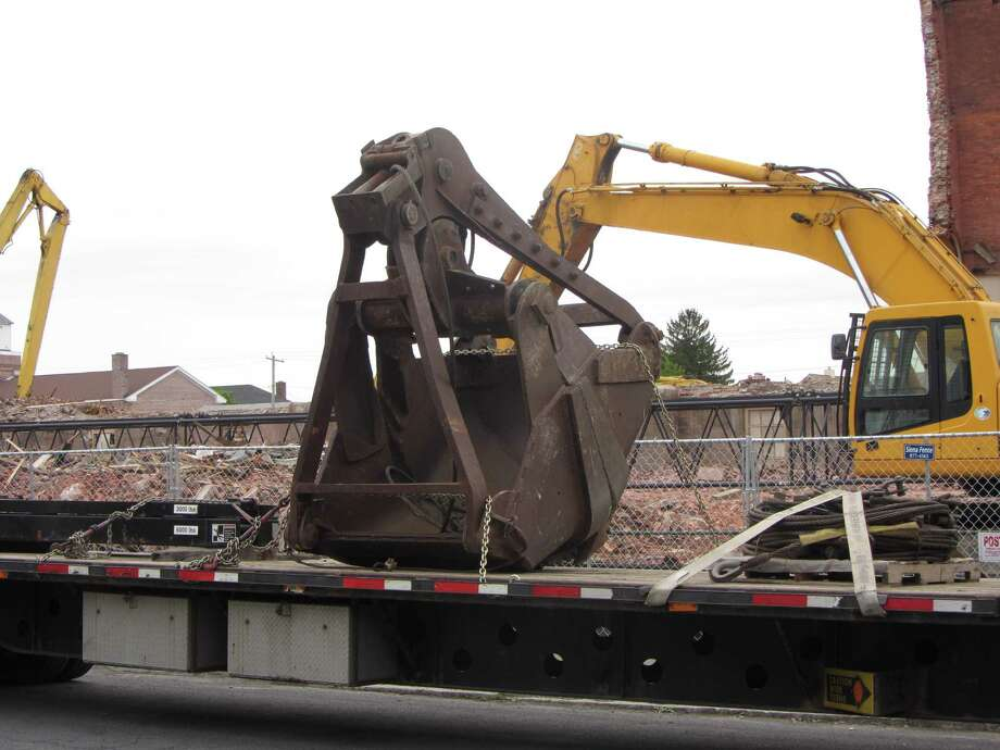 The clamshell for a crane that will stand taller than the bell tower as demolition continues at the former St. Patrick's Church in Watervliet on Wednesday, May 15, 2013. (Bob Gardinier/Times Union)