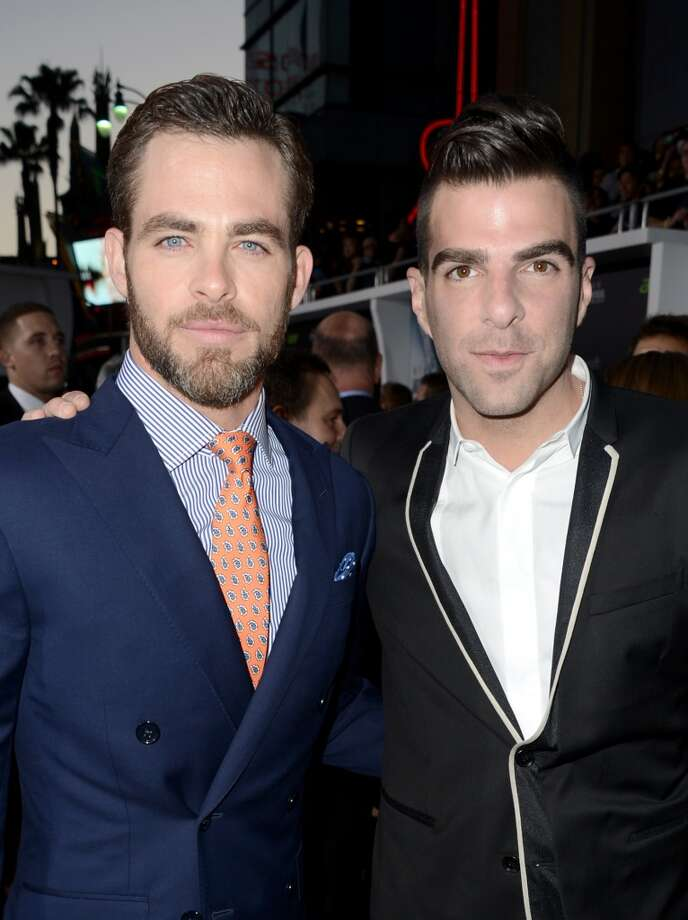"HOLLYWOOD, CA - MAY 14:  Actor Chris Pine (L) and Zachary Quinto arrive at the Premiere of Paramount Pictures' ""Star Trek Into Darkness"" at Dolby Theatre on May 14, 2013 in Hollywood, California.  (Photo by Kevin Winter/Getty Images for Paramount Pictures)"