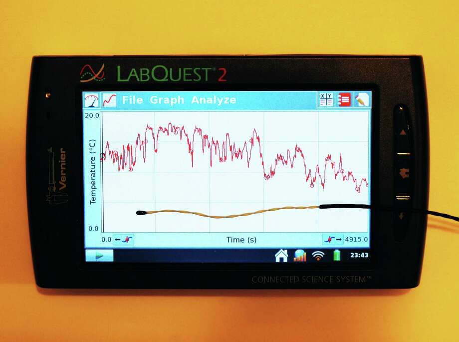 This computer shows the air temperature between Castroville and Seguin, measured by a tiny sensor on the display. Photo: Forrest M. Mims III / For The Express-News