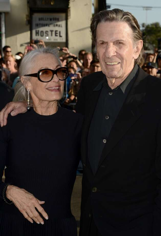 "HOLLYWOOD, CA - MAY 14:  Actor Leonard Nimoy (R) and wife Susan Bay arrive at the Premiere of Paramount Pictures' ""Star Trek Into Darkness"" at Dolby Theatre on May 14, 2013 in Hollywood, California.  (Photo by Kevin Winter/Getty Images for Paramount Pictures)"