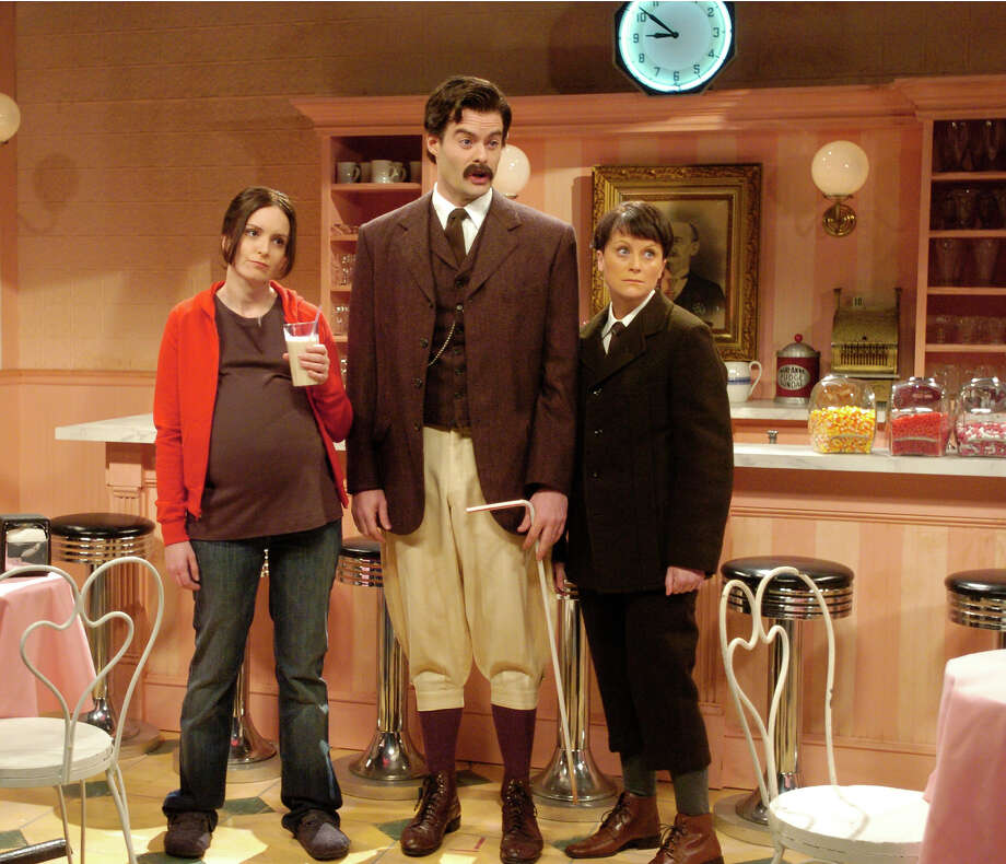 "Bill Hader recreates Daniel Day Lewis' Oscar winning character from ""There Will Be Blood"" Daniel Plainview (with son and partner H.W. Plainview, played by Amy Poehler) as hosts of a Food Network show ""I Drink Your Milkshake"" as he introduces his guest ""Juno"" played by host Tina Fey. Photo: NBC / 2012 NBCUniversal, Inc."