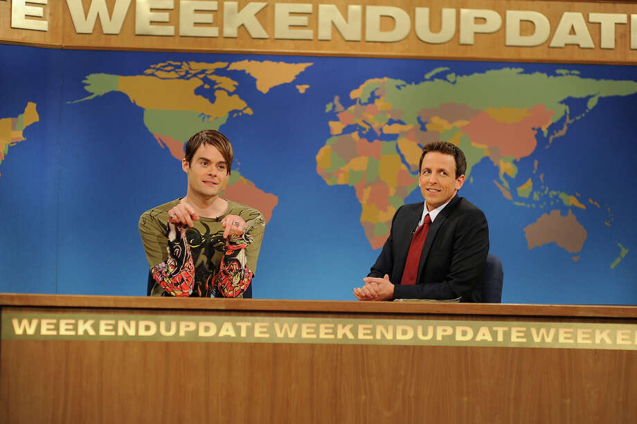 Bill Hader as Stefon and Seth Meyers on weekend update on SNL in 2010. Photo: NBC / 2012 NBCUniversal, Inc.