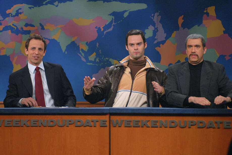 "Seth Meyers, Bill Hader as Vlad, and Fred Armisen as Niko during the ""Weekend Update"" skit on May 10, 2008. Photo: NBC / 2012 NBCUniversal, Inc."