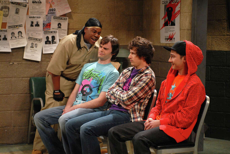 "Kenan Thompson as Lorenzo McIntosh, Bill Hader, Andy Samberg, and Shia LaBeouf during the ""Scared Straight"" skit on May 10, 2008. Photo: NBC / 2012 NBCUniversal, Inc."