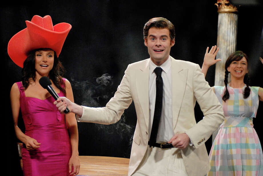 Julia Louis-Dreyfus and Bill Hader as Vinny Vedecci, Maya Rudolph as Fabiola during a skit on March 17, 2007. Photo: NBC / 2012 NBCUniversal, Inc.