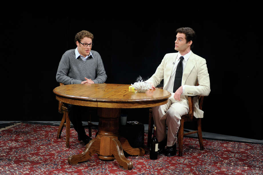 "Seth Rogen, and Bill Hader as Vinny Vedecci during the ""La Rivista Della Telephone"" skit on April 4, 2009. Photo: NBC / 2012 NBCUniversal, Inc."