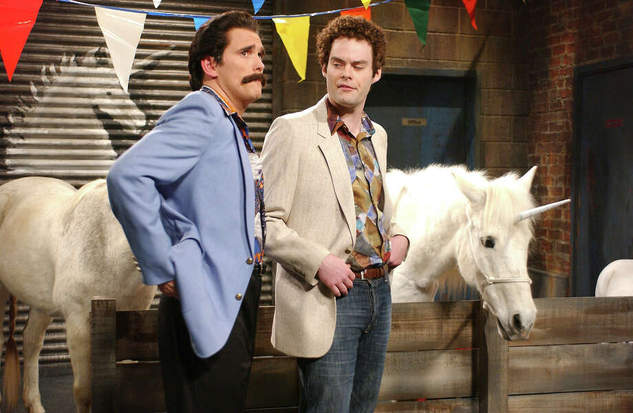 "Matt Dillon as Davy and Bill Hader as Little Mikey during ""DeCicco Brothers Unicornery"" skit on March 11, 2006. Photo: NBC / 2012 NBCUniversal, Inc."