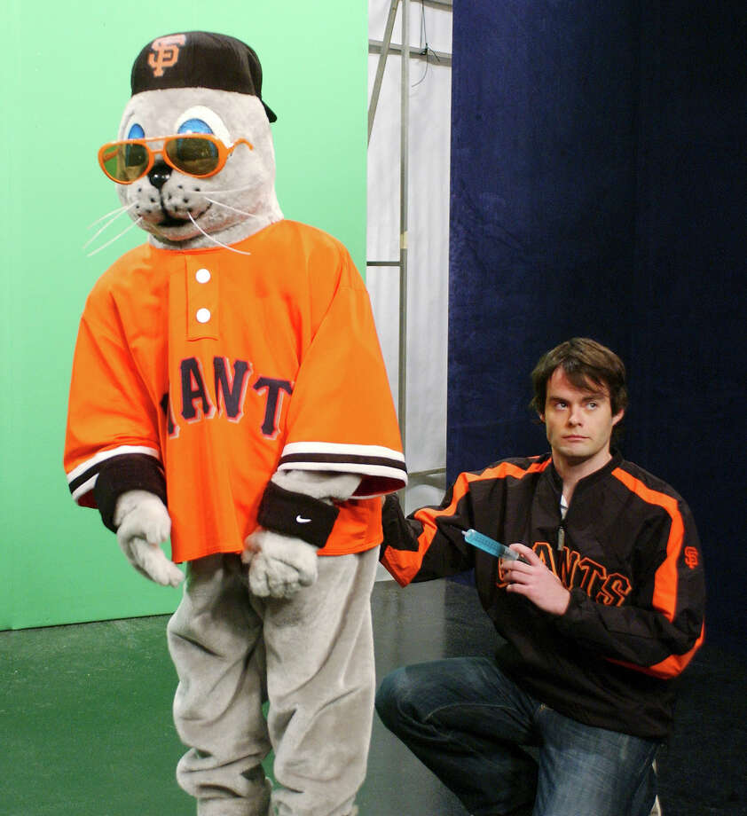 "Andy Samberg as Lou the Seal, Bill Hader asan  assistant during the ""SportsCenter"" skit on March 11, 2006. Photo: NBC / 2012 NBCUniversal, Inc."