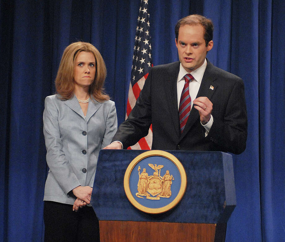 "Kristen Wiig as Silda Spitzer and Bill Hader as Eliot Spitzer during the ""Spitzer & Associates"" skit on March 15, 2008. Photo: NBC / 2012 NBCUniversal, Inc."