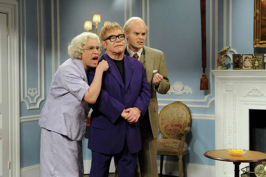 Fred Armisen, Elton John and Bill Hader on SNL in 2011. Photo: NBC / 2012 NBCUniversal, Inc.