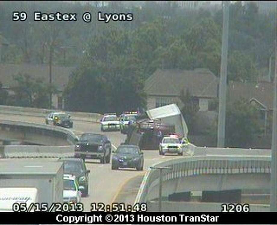 A big rig oveturned on westbound Interstate 0 near the Eastex Freeway about 13:30 p.m. Wednesday. Photo: Houston Transtar