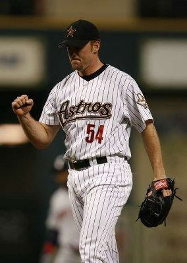 36. Brad Lidge, RHP (2002-2007)23-20 with 123 saves and a 3.30 ERA in 401 innings, with 561 strikeouts, an ERA+ of 133 and 6.8 Wins Above Replacement. Utterly overpowering in 2004-05, posting 2.09 ERA with 71 saves while striking out 14.2 batters per nine innings. Photo: Karen Warren, Houston Chronicle