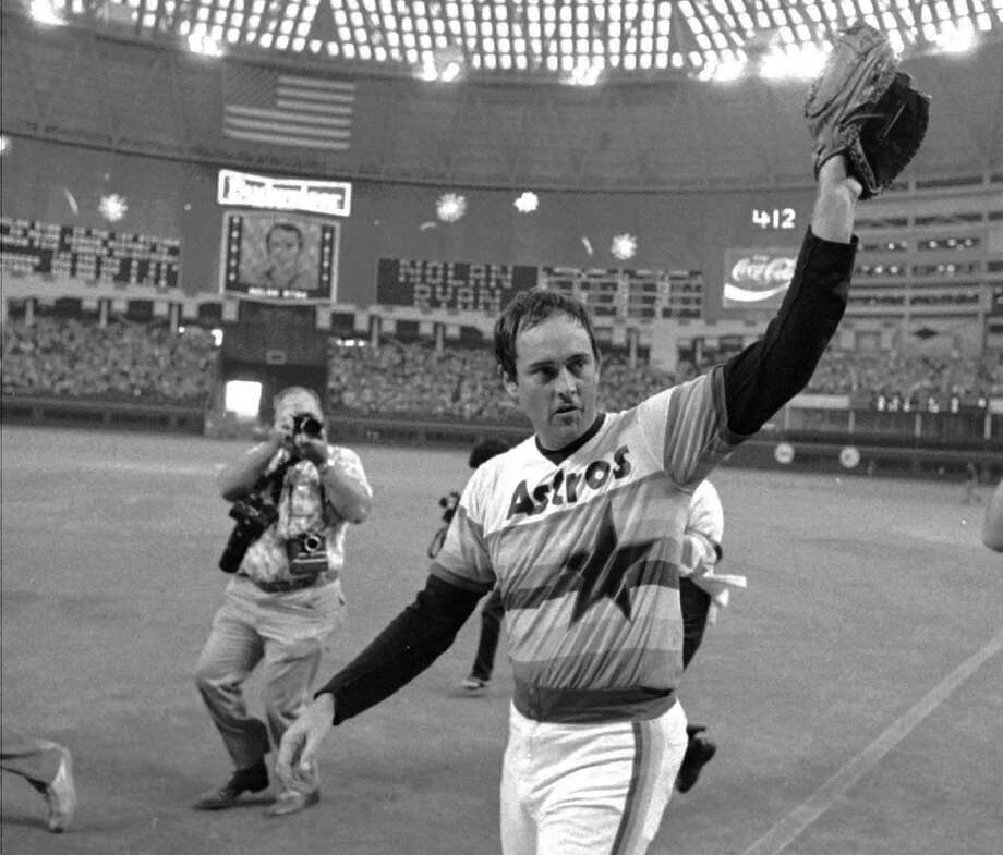 9. Nolan Ryan, RHP (1980-1988) 106-94 with a 3.13 ERA in 1,854.2 IP, with 1,866 Ks, an ERA+ of 110 and 26.2 Wins Above Replacement.  On top of giving the franchise boost of credibility when he signed as free agent after the 1979 season, led league in ERA twice (1981, 1987) and helped Astros capture two division titles. Photo: TIM JOHNSON, Houston Chronicle / AP